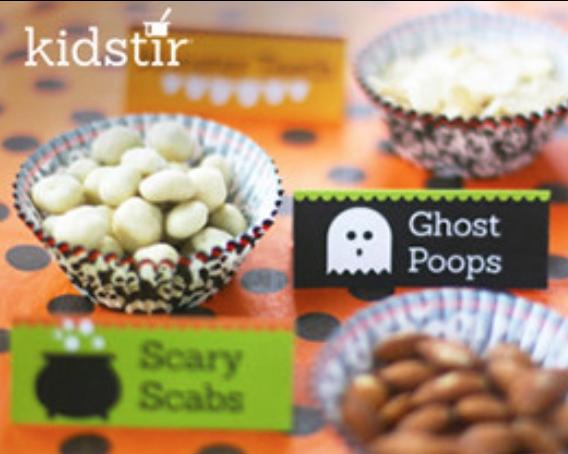 spooky halloween snacks table top tags