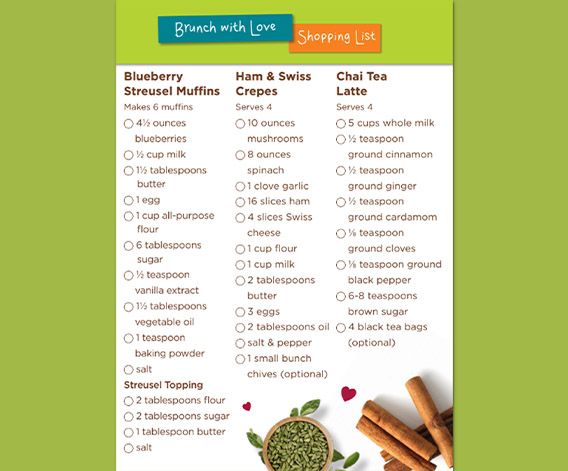 Brunch with Love Shopping List